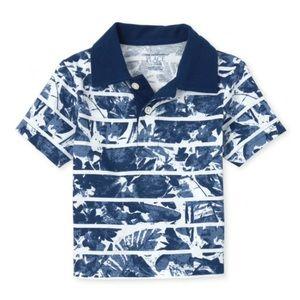 NWT Children's Place Blue Print Polo Shirt 18-24mo